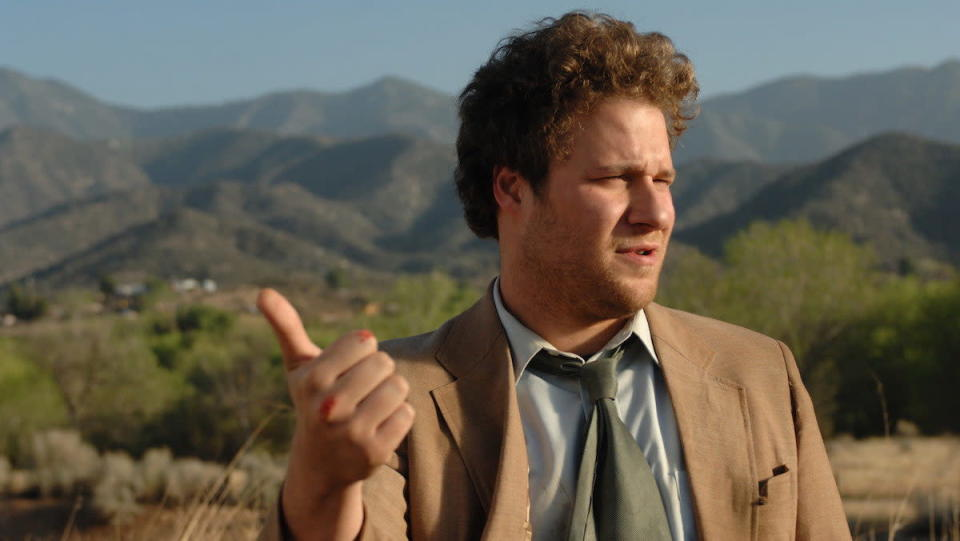 Seth Rogen hitchhikes in Pineapple Express.