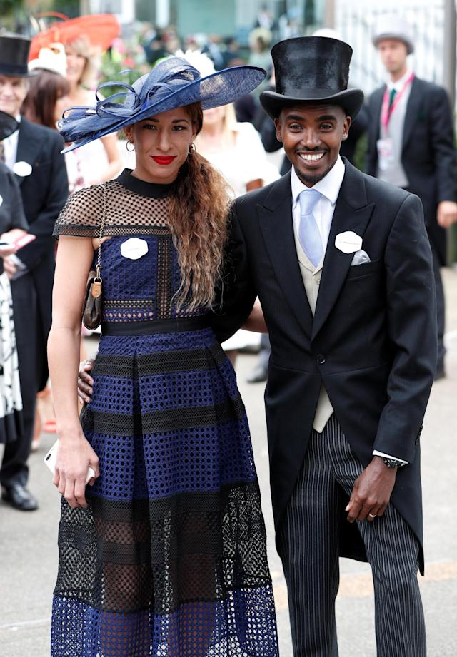 Horse Racing - Royal Ascot - Ascot Racecourse, Ascot, Britain - June 20, 2018 Mo Farah and wife Tania Nell pose before the start Action Images via Reuters/Paul Childs