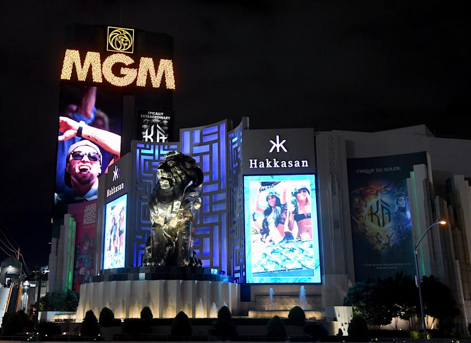 An exterior view shows MGM Grand & Hotel & Casino in Las Vegas as the coronavirus continues to spread across the United States