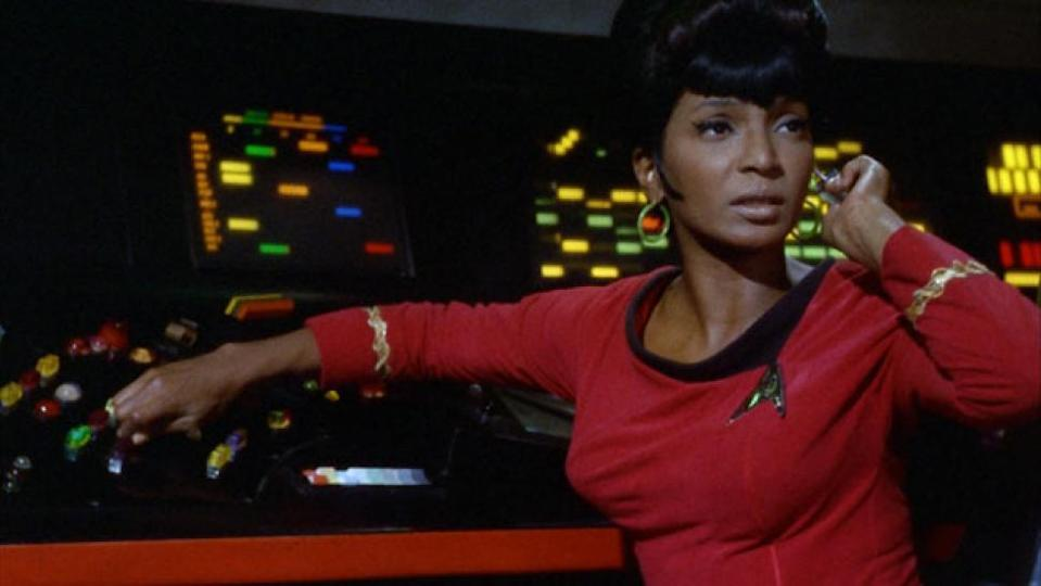 NIchelle Nichols as she appeared over fifty years ago on the original Star Trek series.