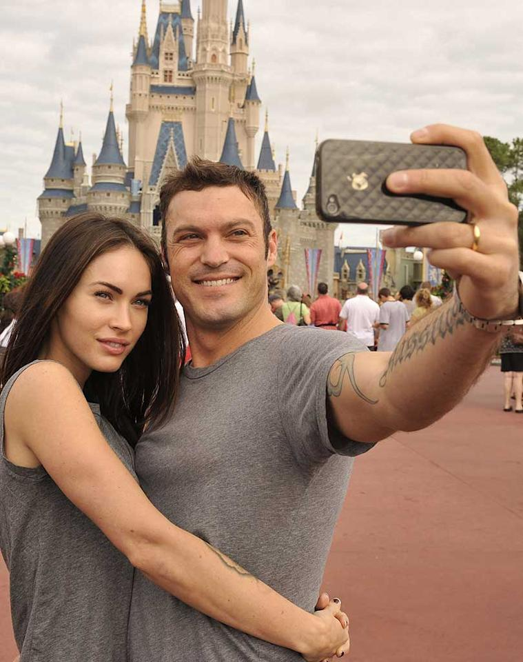 "Also getting in touch with their inner child were Brian Austin Green and Megan Fox, who were spotted taking a few snapshots at the Magic Kingdom in Walt Disney World, Florida. Handout/<a href=""http://www.gettyimages.com/"" target=""new"">GettyImages.com</a> - November 26, 2010"