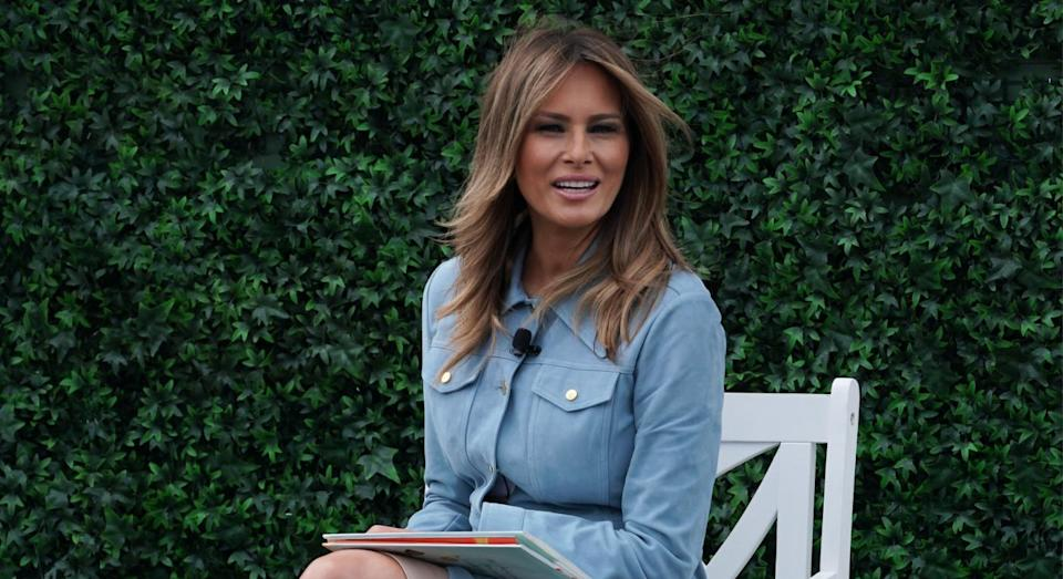 The first lady met Donald Trump at a fashion week party. [Photo: Getty]