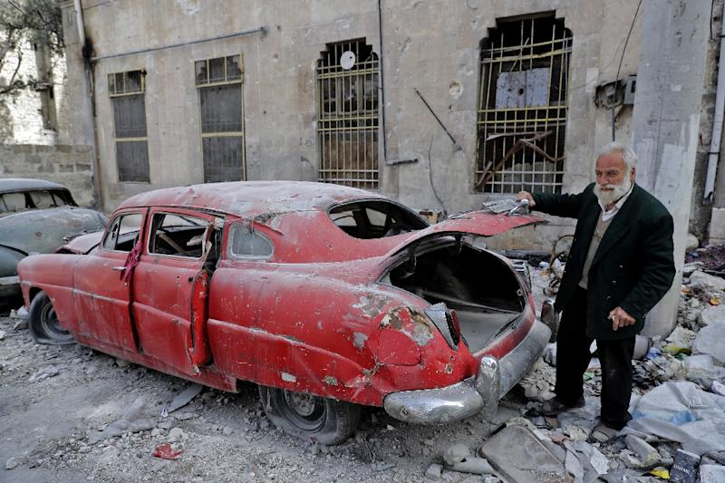 Aleppo resident 70-year-old Mohammad Mohiedine Anis has always had a passion for cars (AFP Photo/JOSEPH EID)