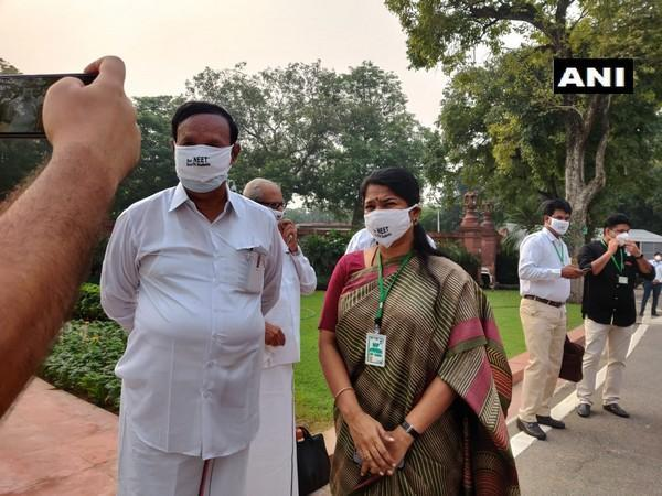 DMK MPs protest against NEET at the Parliament premises on Monday. [Photo/ANI]