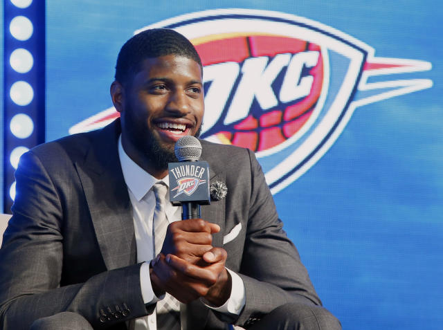 "<a class=""link rapid-noclick-resp"" href=""/nba/players/4725/"" data-ylk=""slk:Paul George"">Paul George</a> was traded to the Thunder during the opening of free agency. (AP)"