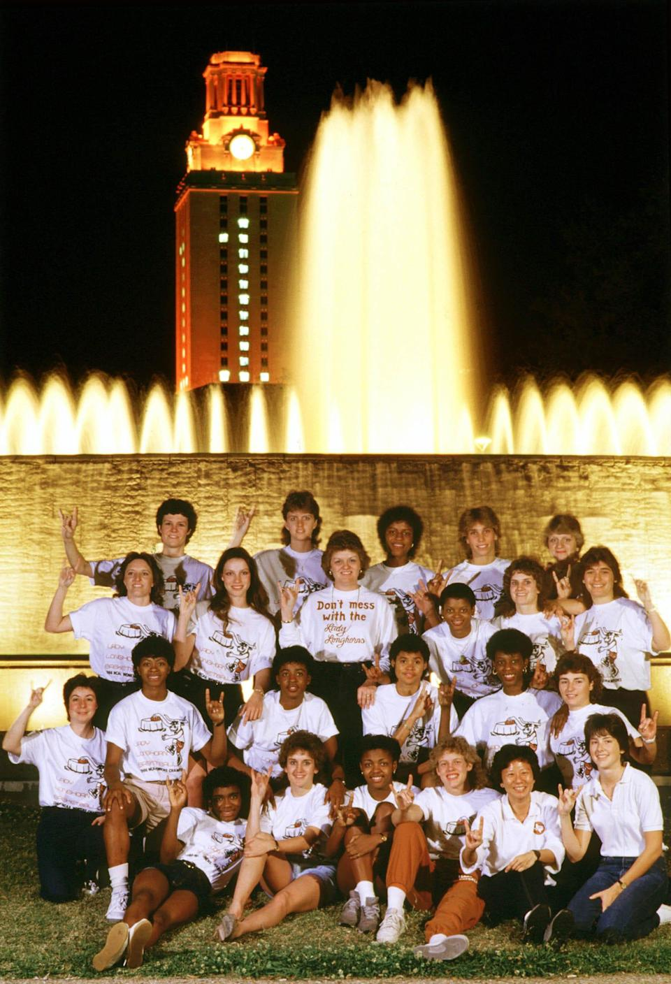 In a photo provided by the school, the 1986 University of Texas Lady longhorns basketball team.