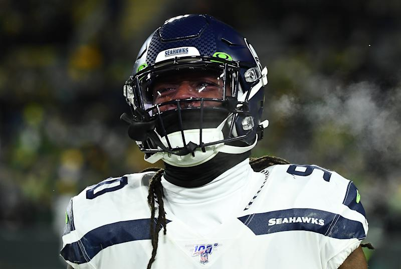 Jadeveon Clowney looks on during a game with the Seahawks.