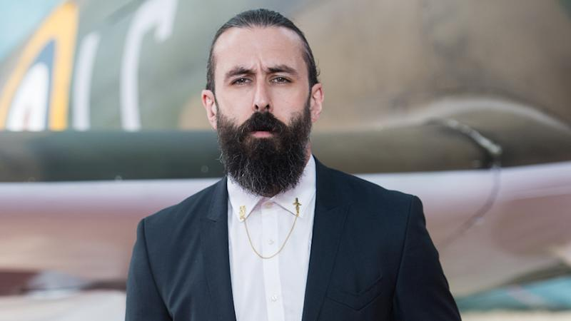 Scroobius Pip arriving at the Dunkirk World Premiere in London