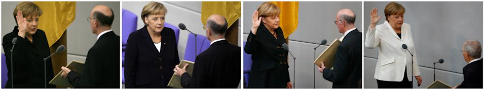 A combination picture shows German Chancellor Angela Merkel is sworn as chancellor on (L to R) November 22, 2005, October 28, 2009, December 17, 2013 and March 14, 2018 in Berlin, Germany.    REUTERS/Staff