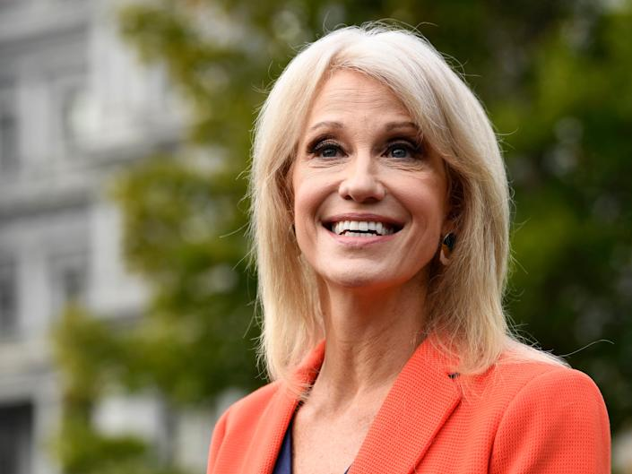 White House counselor Kellyanne Conway talks to reporters outside the West Wing of the White House in Washington, Friday, Oct. 25, 2019. (AP Photo/Susan Walsh)