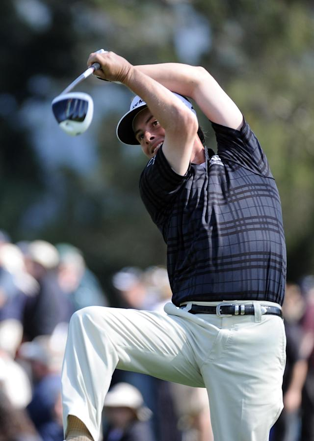 PACIFIC PALISADES, CA - FEBRUARY 18: Spencer Levin hits a tee shot on the second hole during the third round of the Northern Trust Open at the Riviera Country Club on February 18, 2012 in Pacific Palisades, California. (Photo by Harry How/Getty Images)