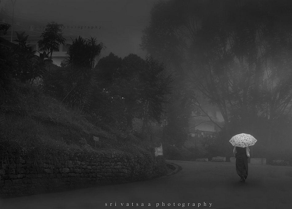 Tranquil pleasures. A foggy street in Gangtok.