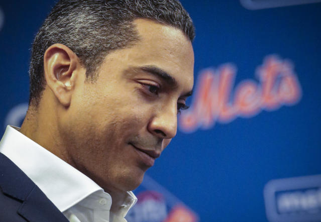 Luis Rojas listens as he is introduced as the New York Mets new manager, Friday, Jan. 24, 2020, during a news conference in New York. (AP Photo/Bebeto Matthews)