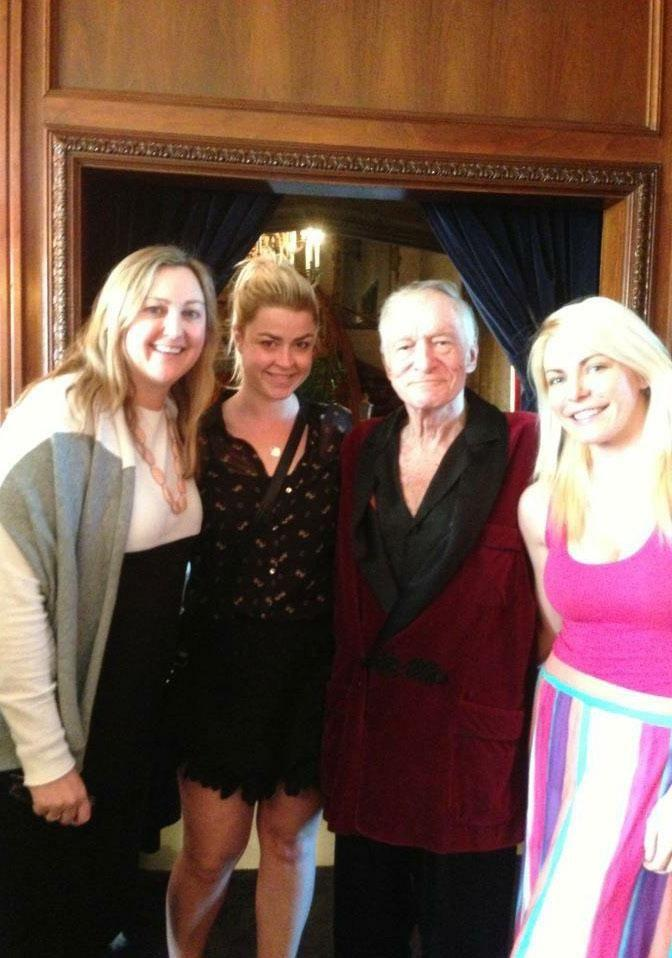 Australian Amanda Archer (second from left), reveals what it was like living in Hugh Hefner's (second from right) Playboy mansion. Source: Supplied
