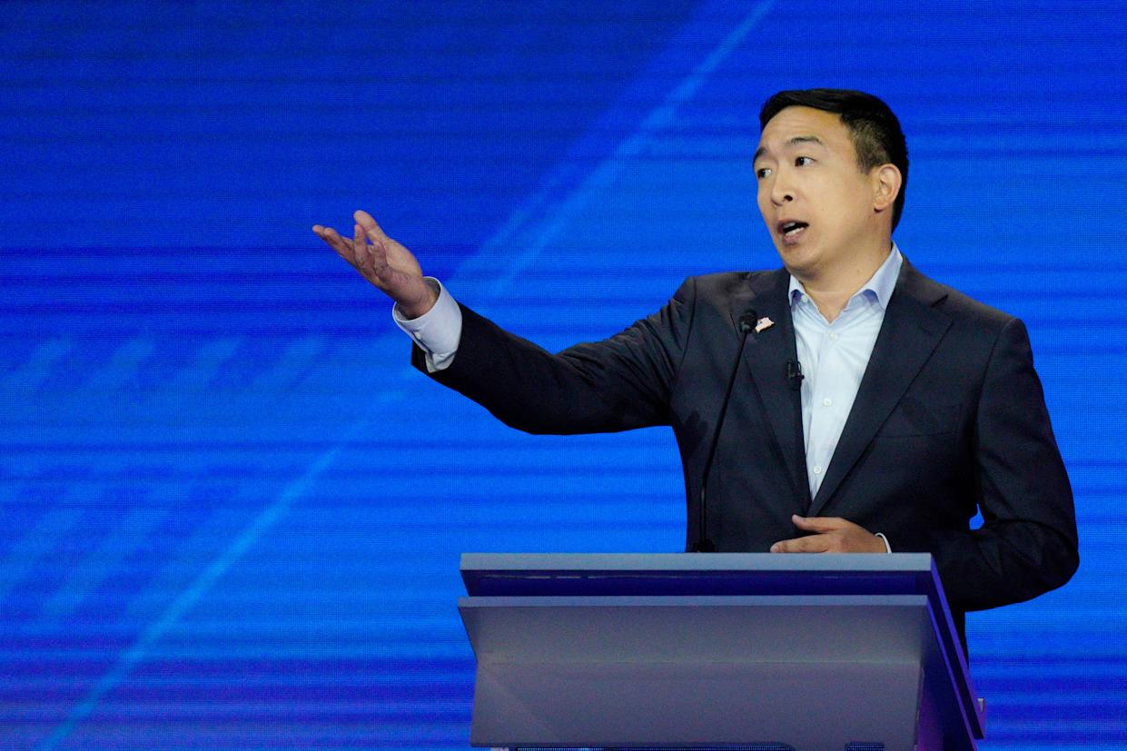 Entrepreneur Andrew Yang at the Democratic debate in Houston on Sept. 12, 2019.
