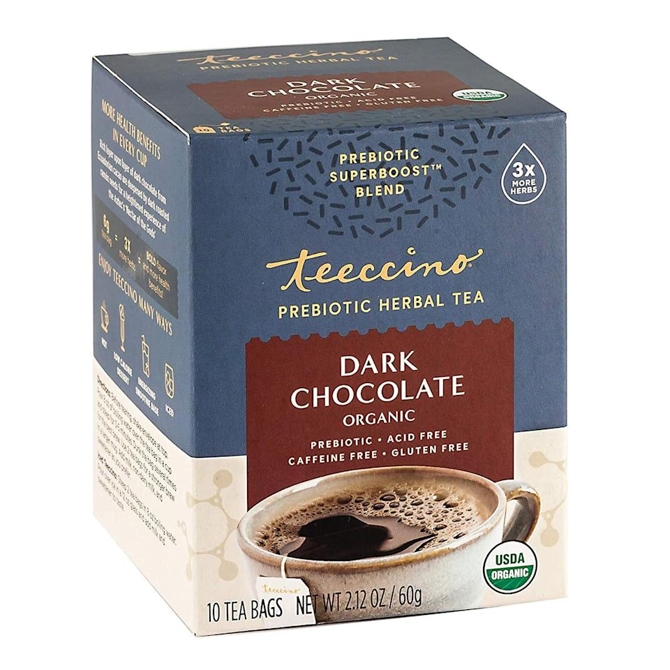 "<p>This <product href=""https://www.amazon.com/Teeccino-Prebiotic-SuperBoostTM-Herbal-Tea/dp/B08BMSLJCD/ref=sr_1_14?dchild=1&amp;keywords=chocolate+tea&amp;qid=1597064418&amp;sr=8-14"" target=""_blank"" class=""ga-track"" data-ga-category=""Related"" data-ga-label=""https://www.amazon.com/Teeccino-Prebiotic-SuperBoostTM-Herbal-Tea/dp/B08BMSLJCD/ref=sr_1_14?dchild=1&amp;keywords=chocolate+tea&amp;qid=1597064418&amp;sr=8-14"" data-ga-action=""In-Line Links"">Teeccino Dark Chocolate Herbal Tea</product> ($8) reminds me so much of hot chocolate, but it's sugar-free and vegan. It has a richer and deeper chocolatey flavor, and is not as sweet, which I like. It tastes perfect as is, without any plant-based milk added, and I love that it's caffeine-free so I can sip on it at any time of the day.</p> <p>I like to make a cup after lunch, and then after dinner, I'll add water to the same mug with the used tea bag to make another cup. It still tastes delicious!</p>"