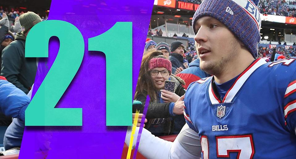 <p>It's not like Josh Allen had a great rookie season, but there seems to be something to build on. Everyone knew it would take time for him. Putting up three passing touchdowns and two running scores in the finale is a great way to enter the offseason. (Josh Allen) </p>