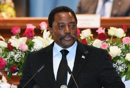 Democratic Republic of Congo's President Joseph Kabila addresses the nation at Palais du Peuple in Kinshasa