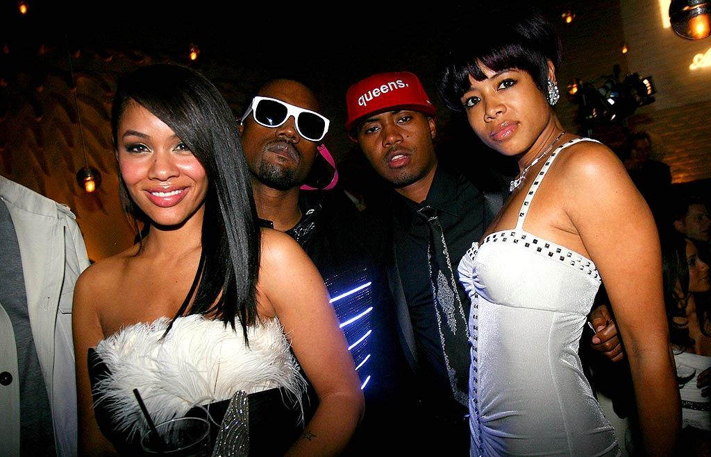 """Kanye and Nas (with their main squeezes Alexis Phifer and Kelis) pretended to be tough guys in front of the camera. Next time they should try smiling. Johnny Nunez/<a href=""""http://www.wireimage.com"""" target=""""new"""">WireImage.com</a> - February 10, 2008"""