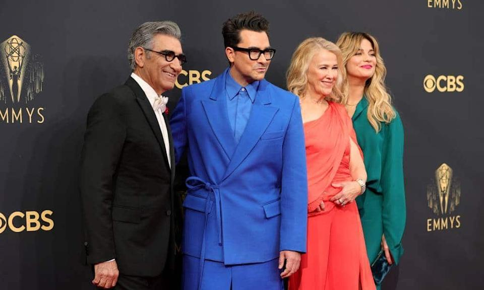 Schitt's Creek stars Eugene Levy, Dan Levy, Catherine O'Hara and Annie Murphy all reunite for the Emmy Awards on 19 September 2021