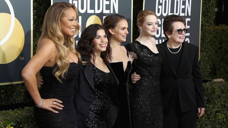 Mariah posed alongside A-list stars America Ferrera, Natalie Portman, Emma Stone and Billie Jean King who all stunned wearing black. Source: Getty