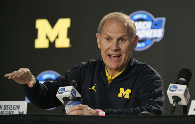 Michigan head coach John Beilein speaks during a news conference at the NCAA tournament, in Los Angeles. (AP Photo/Mark J. Terrill, File)