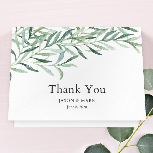 """<h2>Eastwick Thank You Card</h2> <p>Our Eastwick suite is one of our top designs, and works for SO many kinds of weddings, from formal garden parties to more-green affairs in the gorgeous mountains of Colorado.</p> <p>SHOP NOW: <a href=""""https://www.zola.com/wedding-planning/thank-you-cards/08bde3e8-e642-4e04-bfa7-932cad517ff7"""" rel=""""nofollow"""">Zola</a>, $159 for 100</p>"""