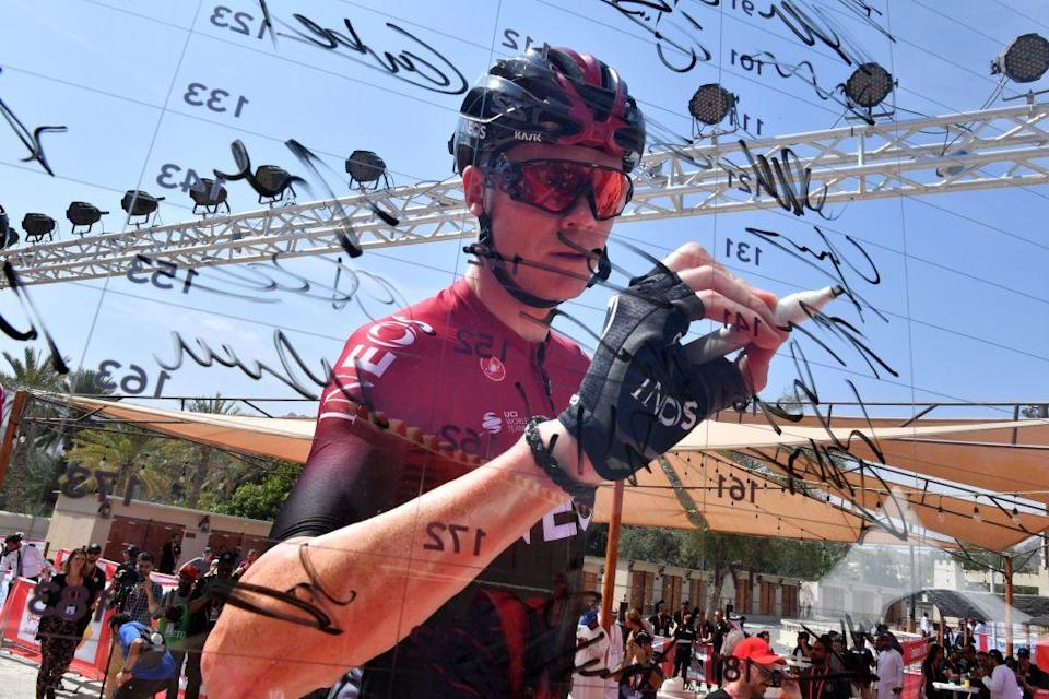 Chris Froome of Team Ineos cycling team signs the board before the start of the second stage of the UAE Cycling Tour from Hatta to Hatta Dam on February 24 2020 Photo by Giuseppe CACACE  AFP  The erroneous mentions appearing in the metadata of this photo by Giuseppe CACACE has been modified in AFP systems in the following manner February 24 instead of February 23 Please immediately remove the erroneous mentions from all your online services and delete it them from your servers If you have been authorized by AFP to distribute it them to third parties please ensure that the same actions are carried out by them Failure to promptly comply with these instructions will entail liability on your part for any continued or post notification usage Therefore we thank you very much for all your attention and prompt action We are sorry for the inconvenience this notification may cause and remain at your disposal for any further information you may require Photo by GIUSEPPE CACACEAFP via Getty Images