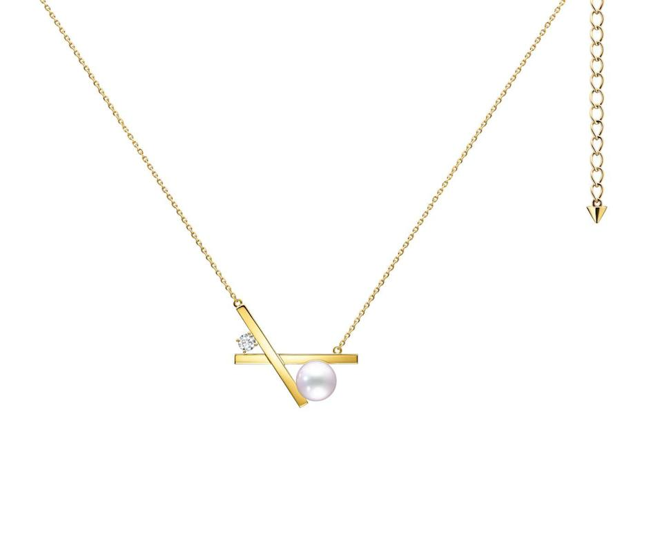 """<p><a class=""""link rapid-noclick-resp"""" href=""""https://www.tasaki.co.uk/jewellery/collectionline/balance/balance_cross/P-16944-18KYG/"""" rel=""""nofollow noopener"""" target=""""_blank"""" data-ylk=""""slk:SHOP NOW"""">SHOP NOW</a></p><p>Tasaki's beautiful Balance Cross necklace takes the form of a little cross-shaped kiss, which you wear close to your heart. </p><p>Gold, pearl and diamond necklace, £2,770, <a href=""""https://www.tasaki.co.uk/"""" rel=""""nofollow noopener"""" target=""""_blank"""" data-ylk=""""slk:Tasaki"""" class=""""link rapid-noclick-resp"""">Tasaki</a>.</p>"""