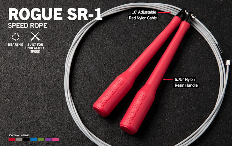"""<p><strong>Rogue Fitness</strong></p><p>roguefitness.com</p><p><strong>$26.00</strong></p><p><a href=""""https://www.roguefitness.com/sr-1-regular-handle-bearing-speed-rope-color-series"""" rel=""""nofollow noopener"""" target=""""_blank"""" data-ylk=""""slk:Shop Now"""" class=""""link rapid-noclick-resp"""">Shop Now</a></p><p>This efficient rope from Rogue is a staple in the CrossFit community. It's built for speed and is perfect for perfecting those double unders. <strong>We like that it's lightweight but good quality and fits perfectly in your gym bag or locker. </strong>It can occasionally tangle so be sure to lay it down flat or hang it on a hook inbetween sets.</p>"""