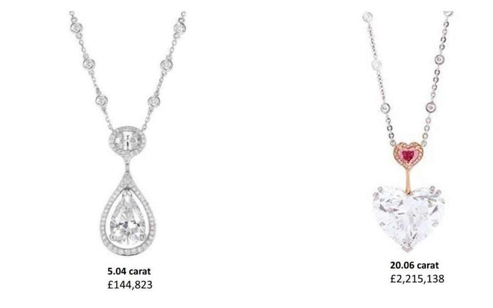 Items taken included a 20.06 carat heart-shaped diamond, valued at £2,215,138 and a 3.03 carat pear-shaped intense purple/pink diamond, valued at £1,106,698. The valuable stones have never been recovered. - CPS handouts