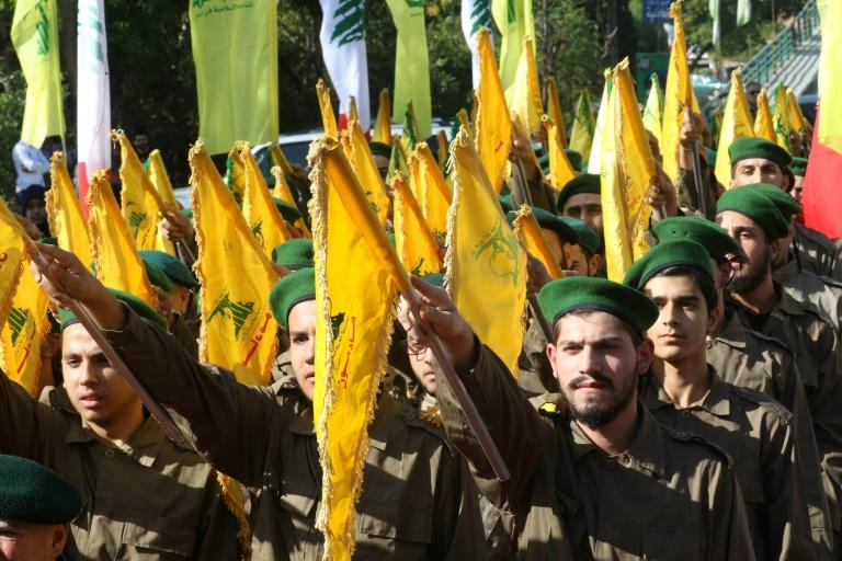 Lebanese Hezbollah fighters march in a Martyrs' Day parade in November in the southern town of Ghazieh (AFP Photo/Mahmoud ZAYYAT)