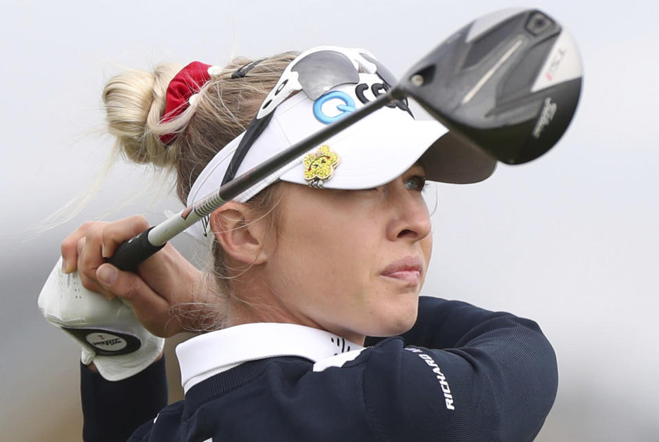 United States' Nelly Korda tees off from the 2nd hole during the second round of the Women's British Open golf championship, in Carnoustie, Scotland, Friday, Aug. 20, 2021. (AP Photo/Scott Heppell)