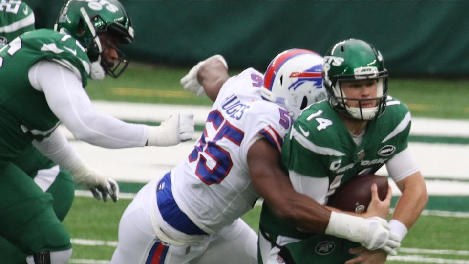Sam Darnold sacked by Jerry Hughes
