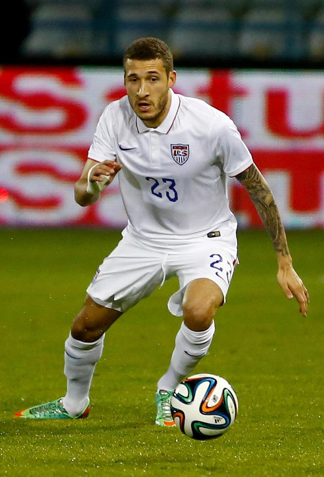 LARNACA, CYPRUS - MARCH 05: Fabian Johnson of the USA in action during the Ukraine v USA International Friendly at Antonis Papadopoulos stadium on March 5, 2014 in Larnaca, Cyprus. (Photo by Andrew Caballero-Reynolds/Getty Images)