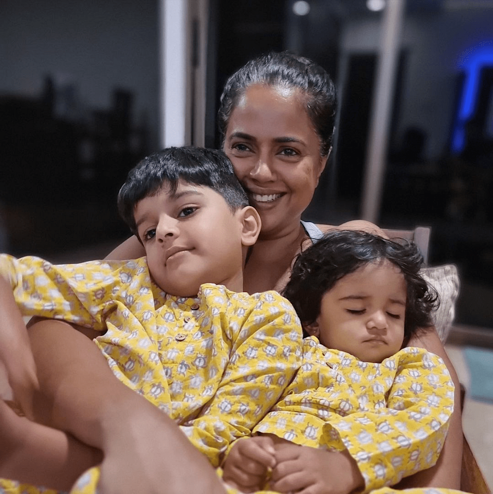 """<div class=""""paragraphs""""><p>Sameera Reddy with kids as they recover.</p></div>"""