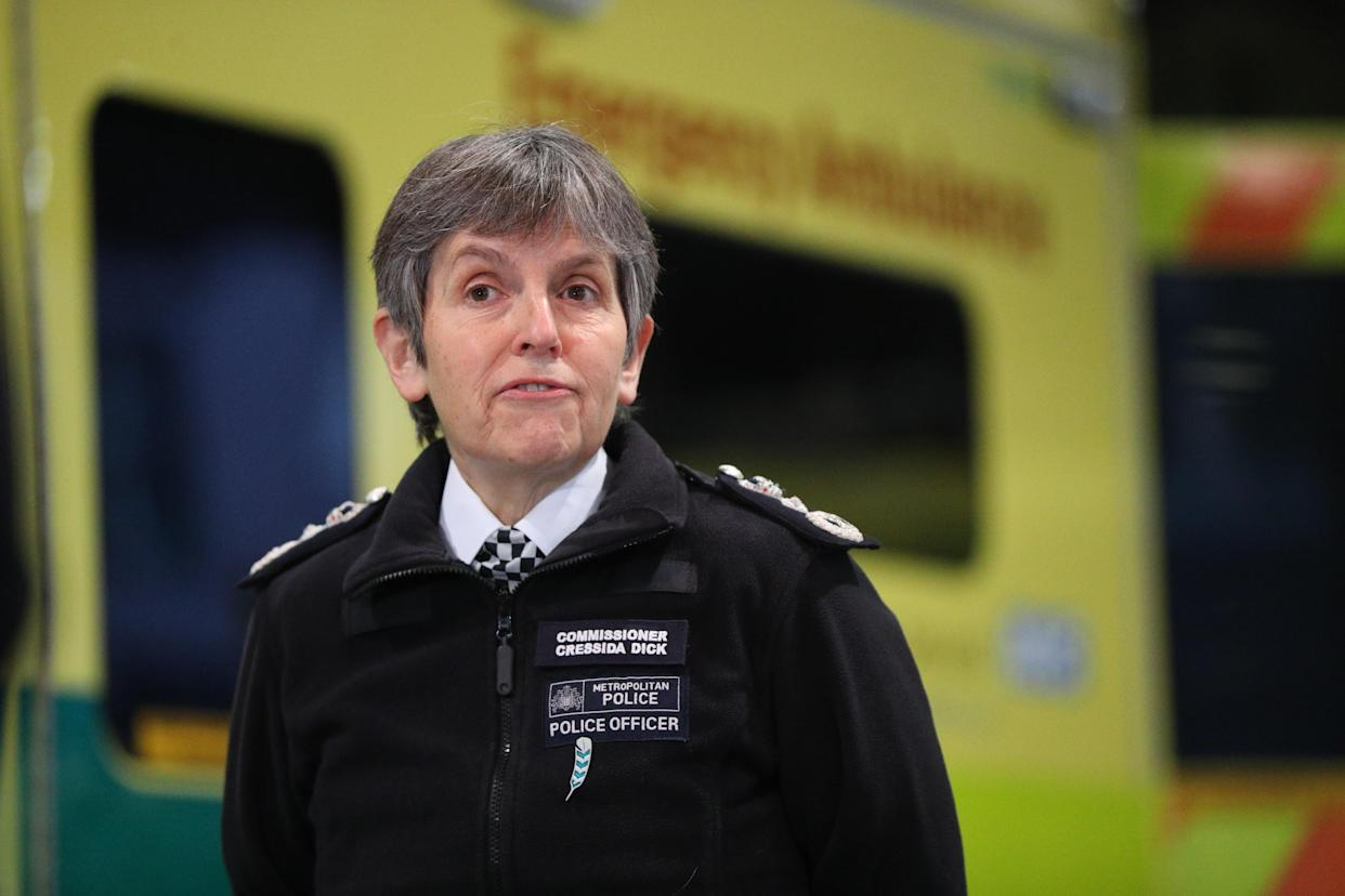 Metropolitan Police Commissioner Dame Cressida Dick during a visit to Wembley Stadium, north London, where officers from the Metropolitan Police are being trained to assist the London Ambulance Service. (Photo by Jonathan Brady/PA Images via Getty Images)