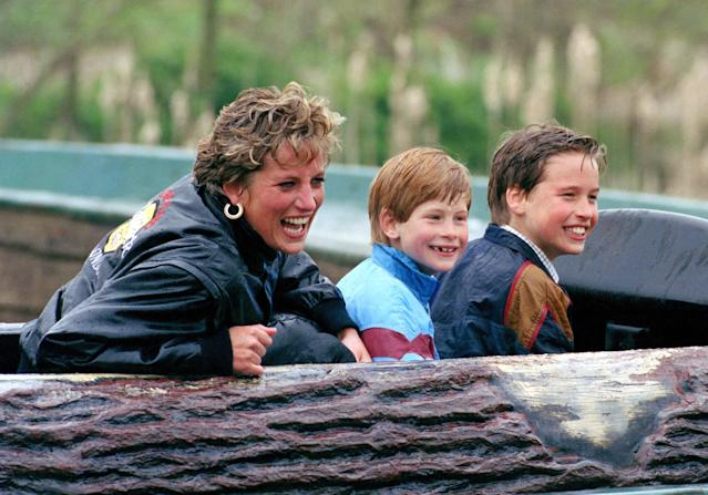 Diana with William and Harry at Thorpe Park. (Getty Images)