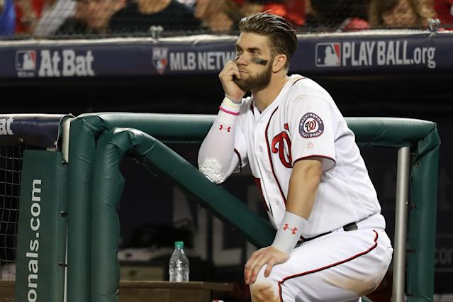 "The <a class=""link rapid-noclick-resp"" href=""/mlb/teams/was/"" data-ylk=""slk:Washington Nationals"">Washington Nationals</a> shouldn't poke the bear when it comes to <a class=""link rapid-noclick-resp"" href=""/mlb/players/8875/"" data-ylk=""slk:Bryce Harper"">Bryce Harper</a>. (Getty Images)"