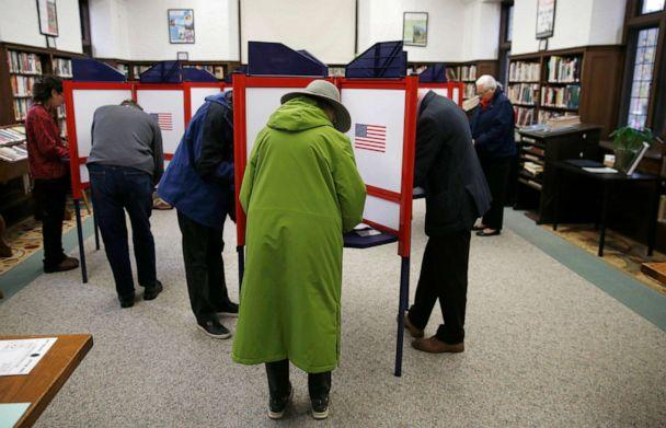 PHOTO: Voters fill out their ballots at Hyde Community Center in the Newton Highlands section of Newton, MA, Nov. 5, 2019. (Jessica Rinaldi/Boston Globe via Getty Images, FILE)