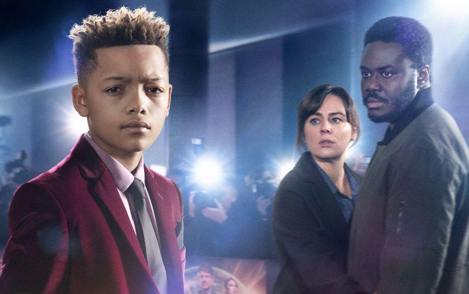 Max Fincham, Jill Halfpenny and Babou Ceesay in Dark Money (BBC)