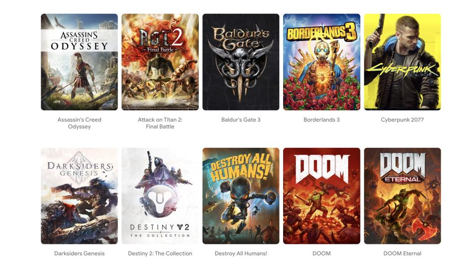 Stadia is launching with 22 games, and will add further titles each month. New game releases will hit Stadia the same time they launch on other consoles. (Image: Google)