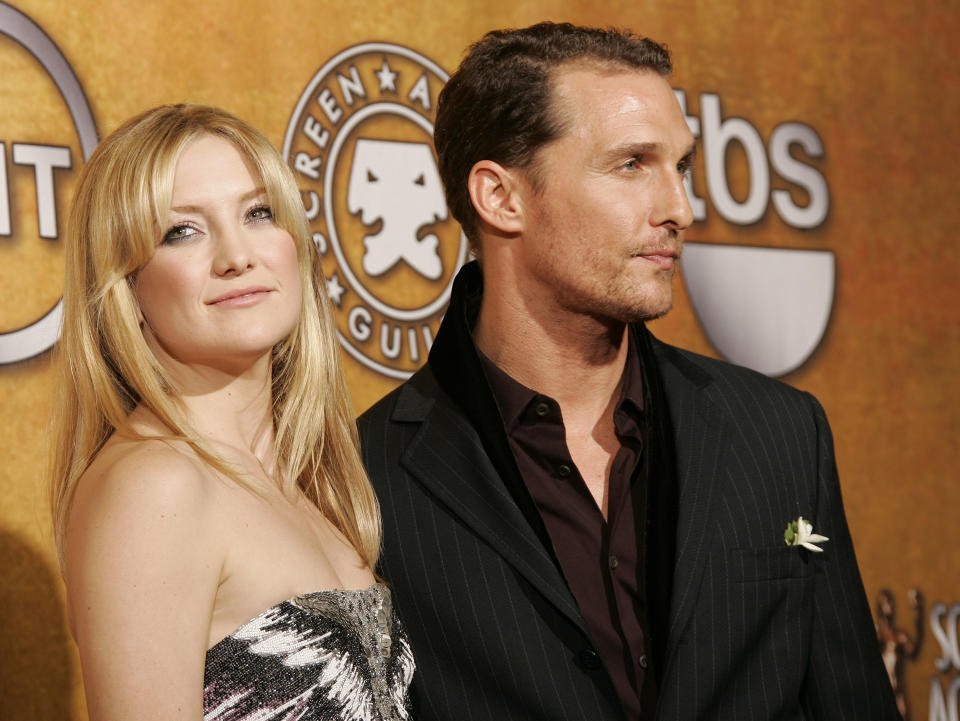 Kate Hudson and Matthew McConaughey in the press room at the 14th Annual Screen Actors Guild Awards in Los Angeles.
