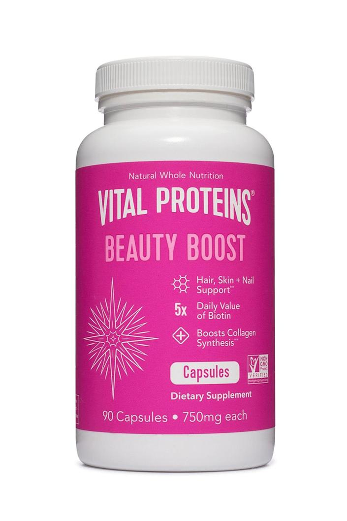 """<p><strong>Vital Proteins</strong></p><p>neimanmarcus.com</p><p><strong>$49.00</strong></p><p><a href=""""https://go.redirectingat.com?id=74968X1596630&url=https%3A%2F%2Fwww.neimanmarcus.com%2Fp%2Fprod205780003&sref=https%3A%2F%2Fwww.elle.com%2Fbeauty%2Fg31099887%2Fbest-hair-growth-vitamins%2F"""" rel=""""nofollow noopener"""" target=""""_blank"""" data-ylk=""""slk:Shop Now"""" class=""""link rapid-noclick-resp"""">Shop Now</a></p><p>Collagen isn't just for skincare. Vital Proteins uses the key ingredient as a building block for healthy hair, skin, nails, bones, and joints. Biotin and vitamin C round out the 100 percent vegan and natural formula.</p>"""