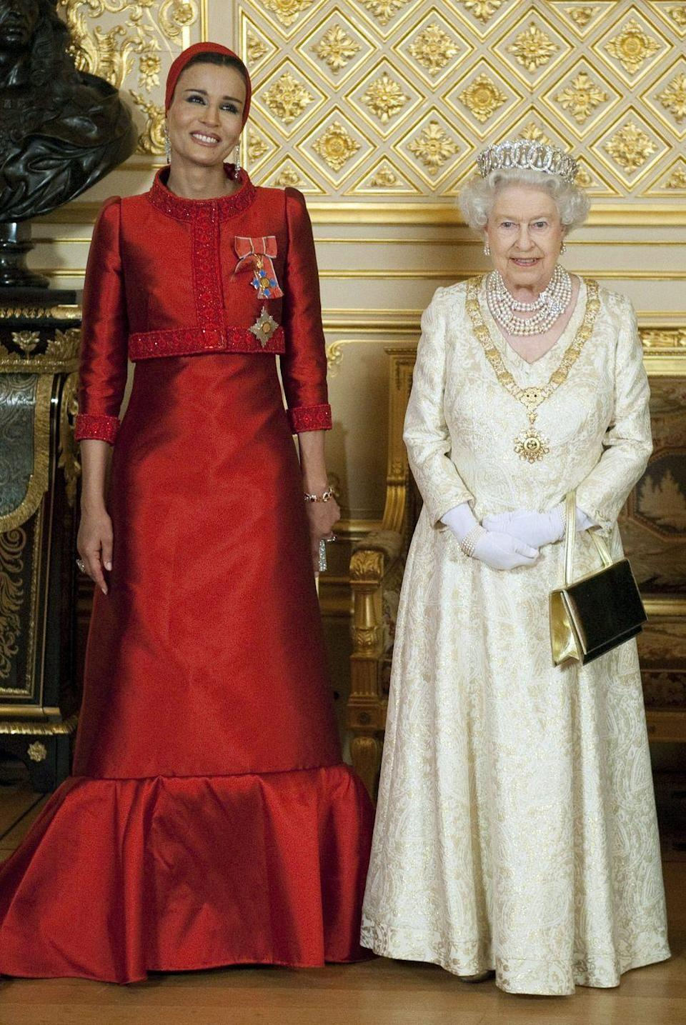<p>The wife of Qatar's Emir Sheikh Hamad bin Khalifa al Thani, Her Highness Sheikha Mozah bint Nasser Al Missned currently lives in Doha, Qatar and is known worldwide for customizing couture looks to meet Middle Eastern modesty standards. </p>