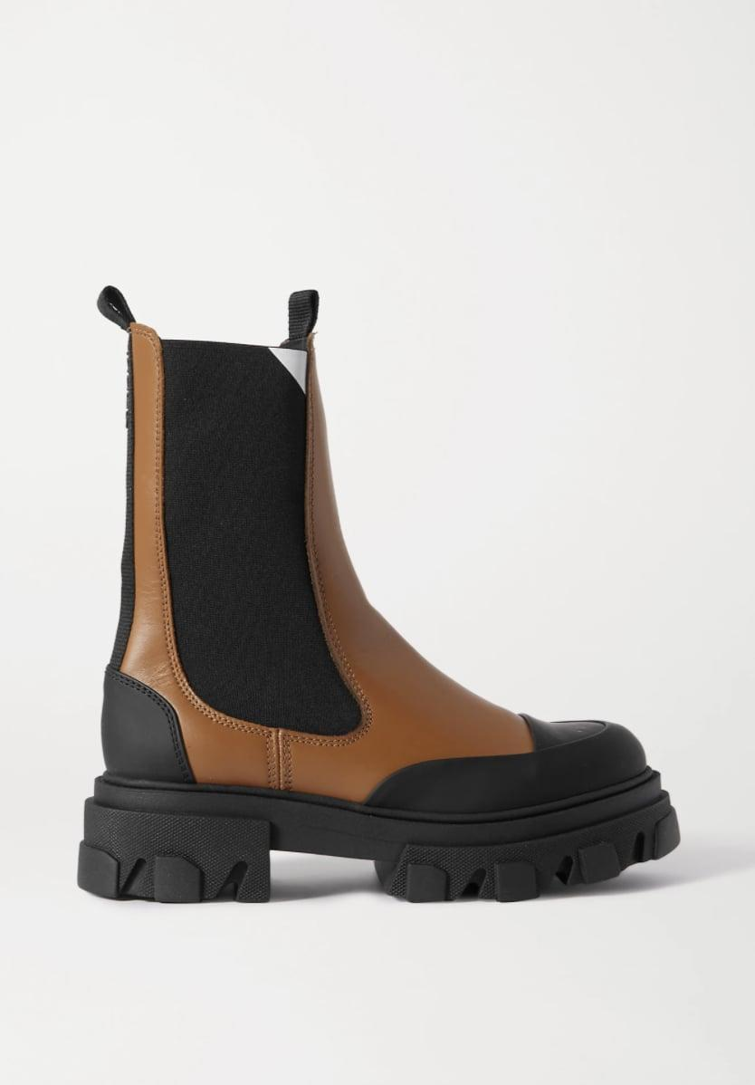 <p><span>Ganni Rubber-Trimmed Leather Chelsea Boots</span> ($385)</p>