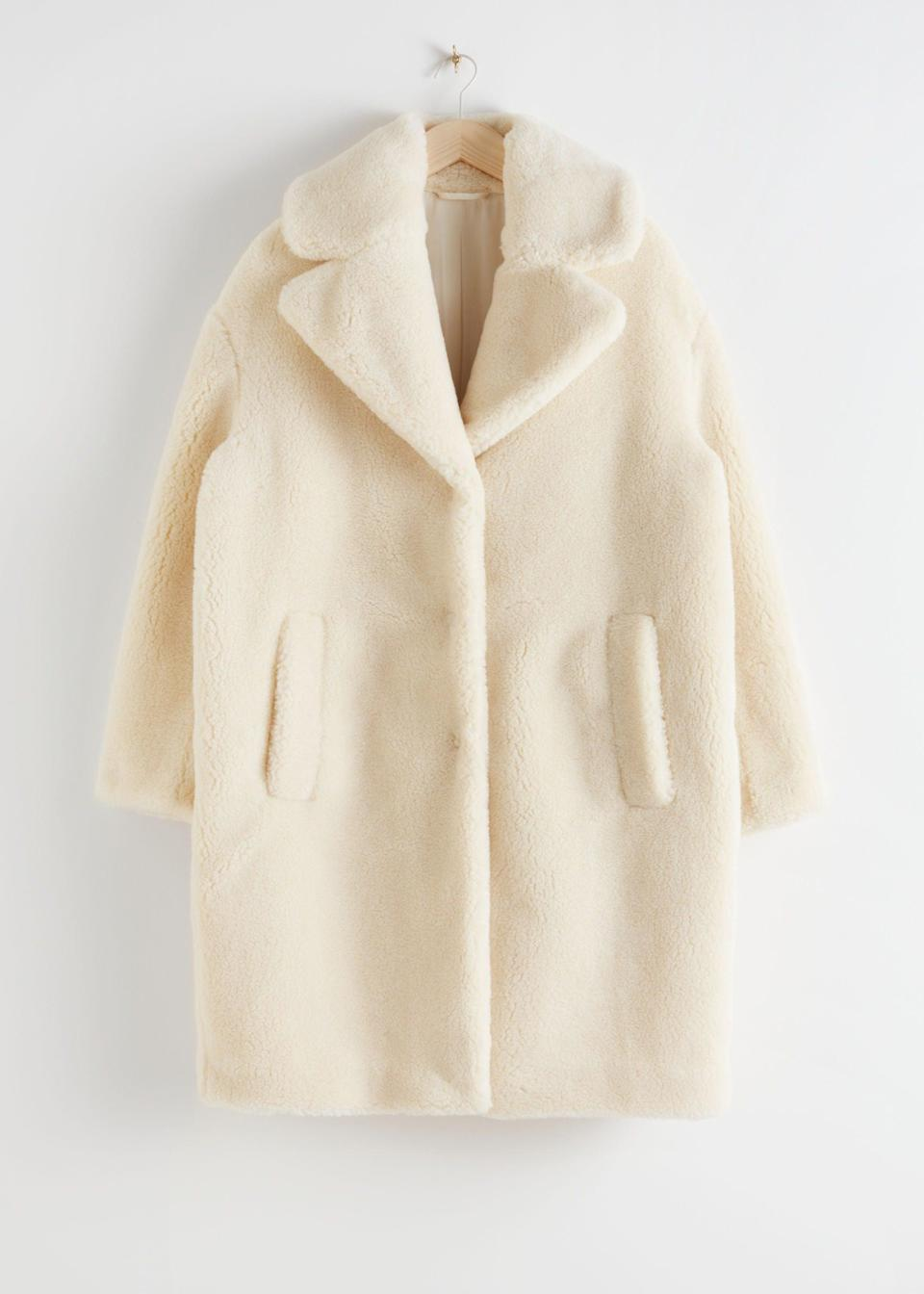 """<br><br><strong>& Other Stories</strong> Oversized Faux Shearling Coat, $, available at <a href=""""https://www.stories.com/en_gbp/clothing/jackets-coats/fauxfur/product.oversized-faux-shearling-coat-yellow.0657922004.html"""" rel=""""nofollow noopener"""" target=""""_blank"""" data-ylk=""""slk:& Other Stories"""" class=""""link rapid-noclick-resp"""">& Other Stories</a>"""