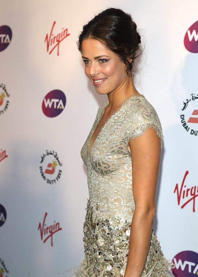 LONDON, ENGLAND - JUNE 21: Ana Ivanovic arrives at the WTA Tour Pre-Wimbledon Party at The Roof Gardens, Kensington on June 21, 2012 in London, England. (Photo by Tom Dulat/Getty Images for WTA)