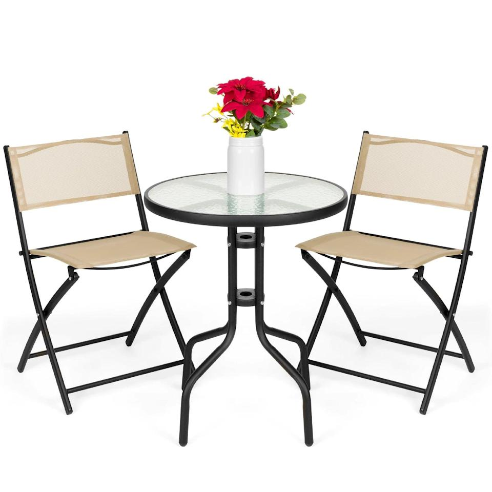 <p>The simple and minimalistic <span>Best Choice Products 3-Piece Patio Bistro Dining Furniture Set </span> ($95) comes with a round textured glass table top and folding chairs. It's great for corners, balconies, and decks.</p>