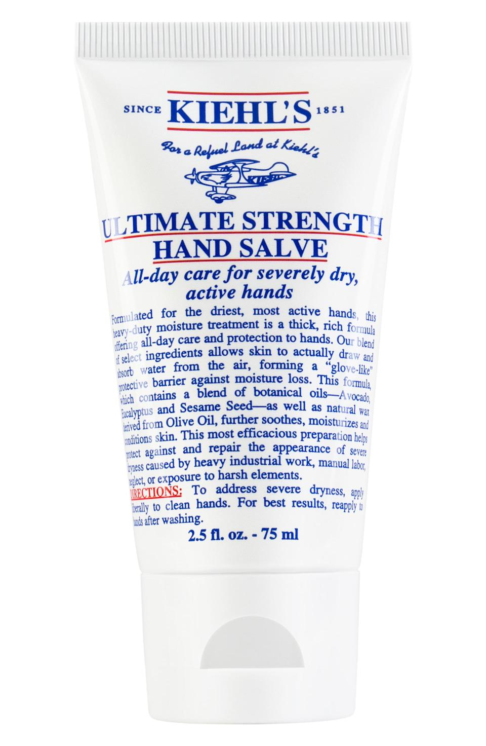 """<p><strong>Kiehl's</strong></p><p>nordstrom.com</p><p><strong>$16.00</strong></p><p><a href=""""https://go.redirectingat.com?id=74968X1596630&url=https%3A%2F%2Fshop.nordstrom.com%2Fs%2Fkiehls-since-1851-ultimate-strength-hand-salve%2F5050445%2Flite&sref=https%3A%2F%2Fwww.harpersbazaar.com%2Fbeauty%2Fg33481900%2Fnordstrom-anniversary-sale-2020-best-beauty-makeup-deals%2F"""" rel=""""nofollow noopener"""" target=""""_blank"""" data-ylk=""""slk:Shop Now"""" class=""""link rapid-noclick-resp"""">Shop Now</a></p><p><strong>Sale: $10.50</strong></p><p>After sale: $16</p><p>Even though it's ninety degrees and humid right now, dry hand season is just around the corner. (And if your hands are already dry from all the rigorous hand-washing, know that our bright red knuckles are right there with yours). Here, a rare chance to snag Kiehl's legendary hand salve at such a steeply discounted price. </p>"""